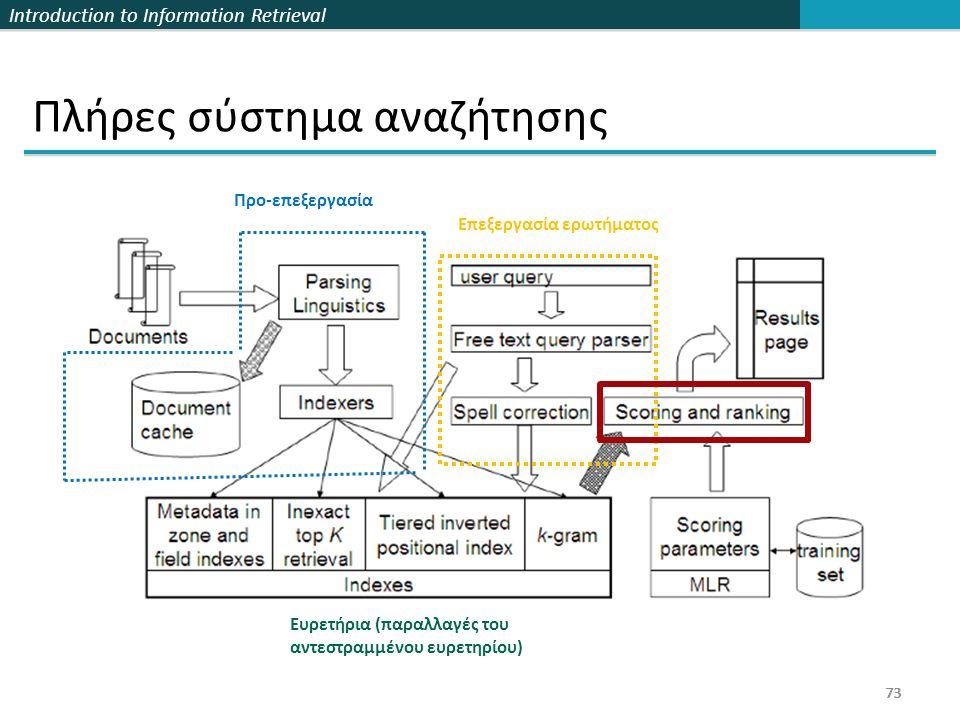 Introduction to Information Retrieval 73 Πλήρες σύστημα αναζήτησης 73 Προ-επεξεργασία Ευρετήρια (παραλλαγές του αντεστραμμένου ευρετηρίου) Επεξεργασία ερωτήματος