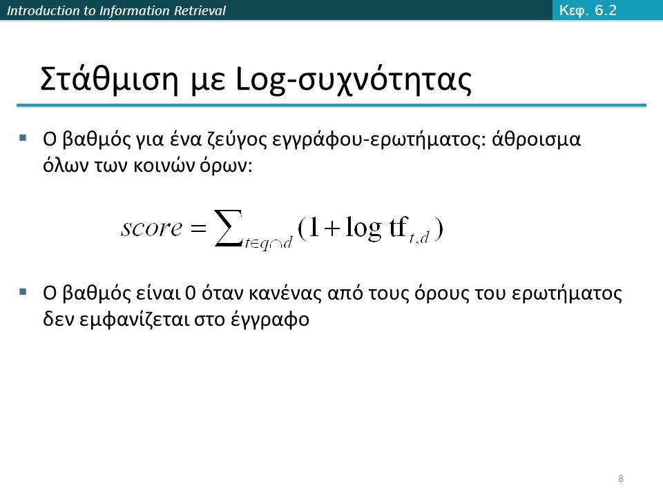 Introduction to Information Retrieval ΤΕΛΟΣ 6-7 ου Μαθήματος Ερωτήσεις.