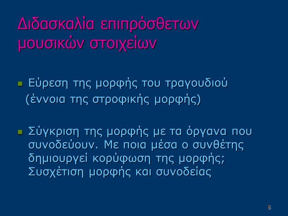 8 Εύρεση της μορφής του τραγουδιού Εύρεση της μορφής του τραγουδιού (έννοια της στροφικής μορφής) (έννοια της στροφικής μορφής) Σύγκριση της μορφής με