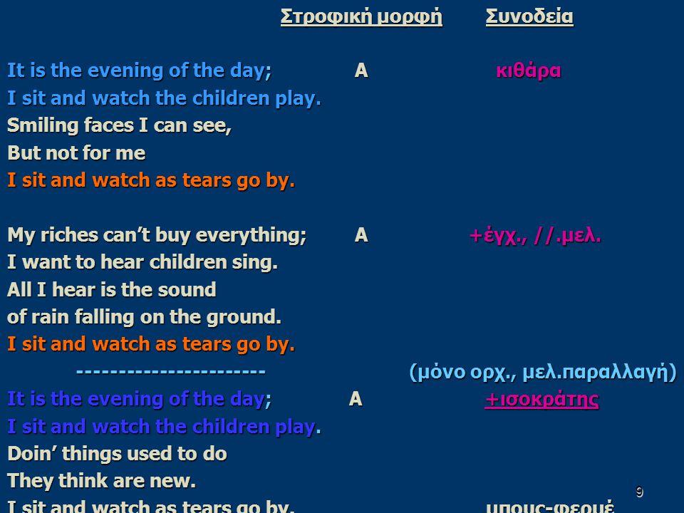9 Στροφική μορφήΣυνοδεία It is the evening of the day; Α κιθάρα I sit and watch the children play. Smiling faces I can see, But not for me I sit and w