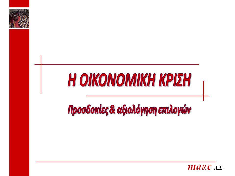 Πιστεύετε ότι θα μπορέσει η Ελλάδα τελικά να ξεπεράσει την κρίση ή δεν θα αποφύγουμε την χρεωκοπία; 5 ΨΗΦΟΦΟΡΟΙ 09 ΠΑΣΟΚΝΔ Άλλο κόμμα Θα ξεπεράσει την κρίση72,250,844,6 Δεν θα αποφύγουμε την χρεωκοπία24,143,550,7 ΔΑ3,75,74,7
