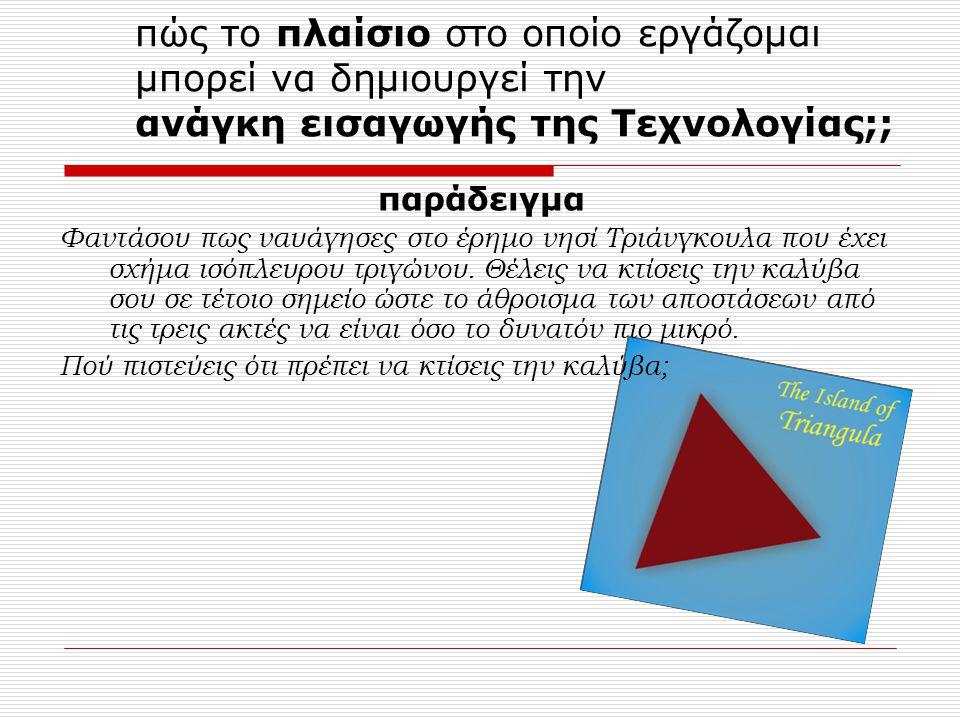 πώς το πλαίσιο στο οποίο εργάζομαι μπορεί να δημιουργεί την ανάγκη εισαγωγής της Τεχνολογίας;; παράδειγμα Φαντάσου πως ναυάγησες στο έρημο νησί Τριάνγκουλα που έχει σχήμα ισόπλευρου τριγώνου.