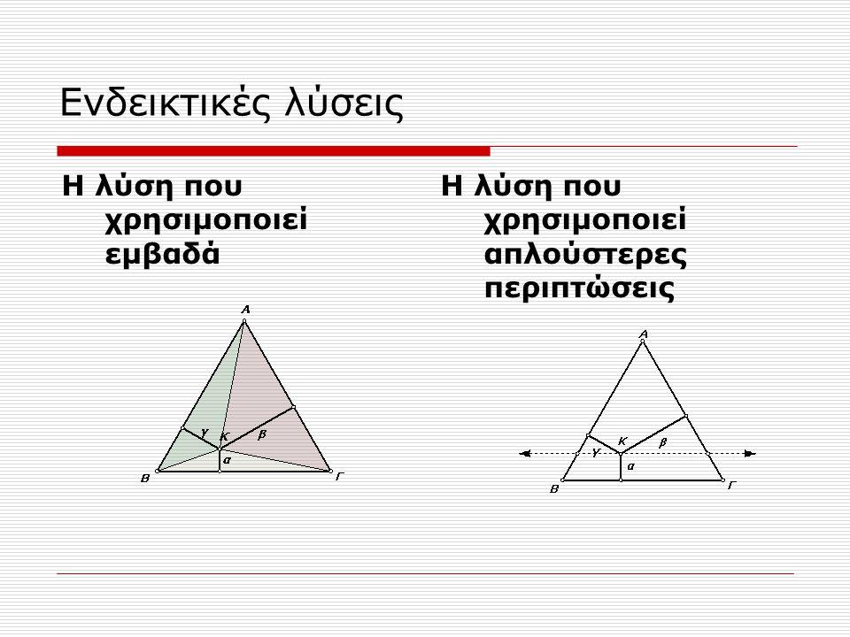 Ενδεικτικές λύσεις Η λύση που χρησιμοποιεί εμβαδά Η λύση που χρησιμοποιεί απλούστερες περιπτώσεις