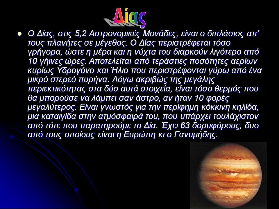 Ο Κρόνος, στις 9,5 Αστρονομικές Μονάδες είναι λίγο πιο μικρός απ το Δία και του μοιάζει σε αρκετά χαρακτηριστικά.