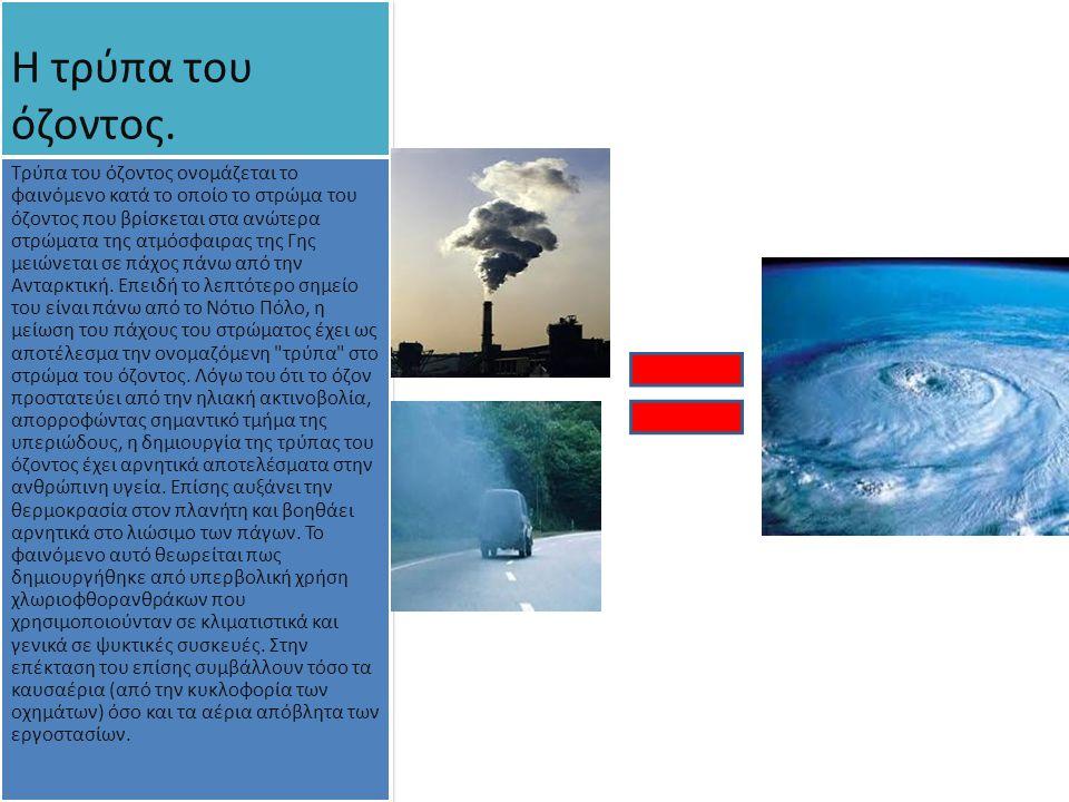 Η τρύπα του όζοντος. Τρύπα του όζοντος ονομάζεται το φαινόμενο κατά το οποίο το στρώμα του όζοντος που βρίσκεται στα ανώτερα στρώματα της ατμόσφαιρας