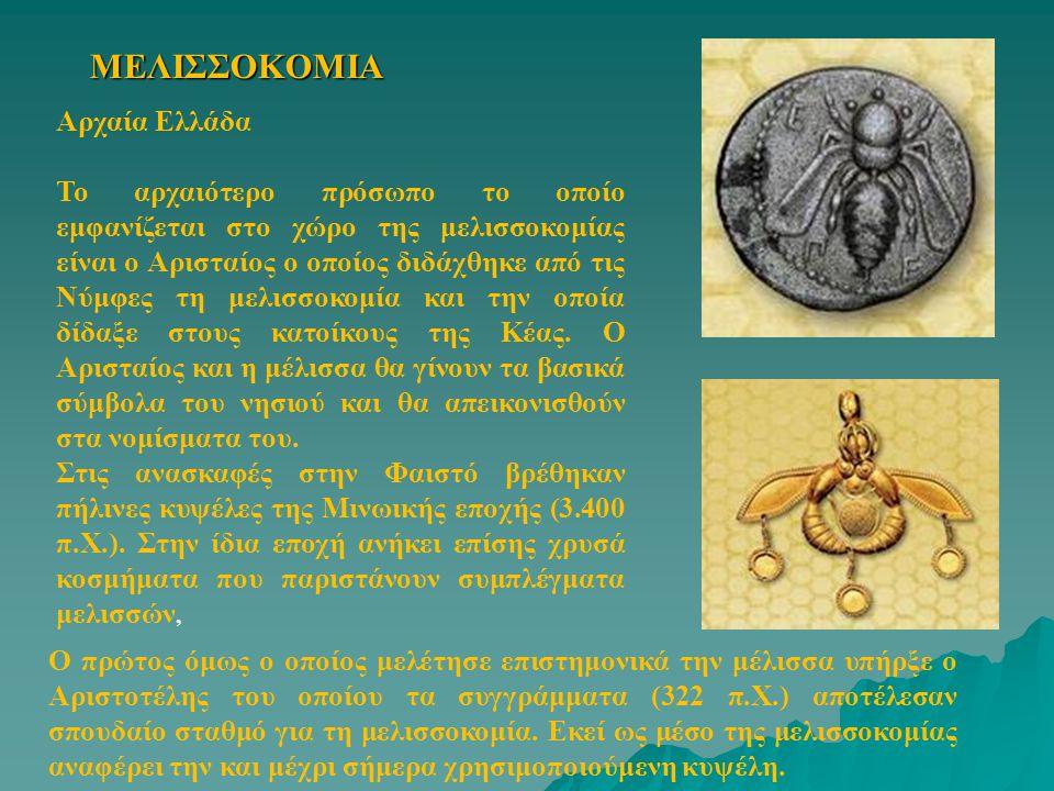 ΜΕΛΙΣΣΟΚΟΜΙΑ Αρχαία Ελλάδα Το αρχαιότερο πρόσωπο το οποίο εμφανίζεται στο χώρο της μελισσοκομίας είναι ο Αρισταίος ο οποίος διδάχθηκε από τις Νύμφες τ