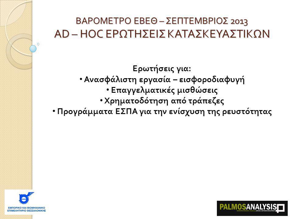 ΒΑΡΟΜΕΤΡΟ ΕΒΕΘ – ΣΕΠΤΕΜΒΡΙΟΣ 2013 AD – HOC ΕΡΩΤΗΣΕΙΣ ΚΑΤΑΣΚΕΥΑΣΤΙΚΩΝ Ερωτήσεις για: Ανασφάλιστη εργασία – εισφοροδιαφυγή Επαγγελματικές μισθώσεις Χρηματοδότηση από τράπεζες Προγράμματα ΕΣΠΑ για την ενίσχυση της ρευστότητας