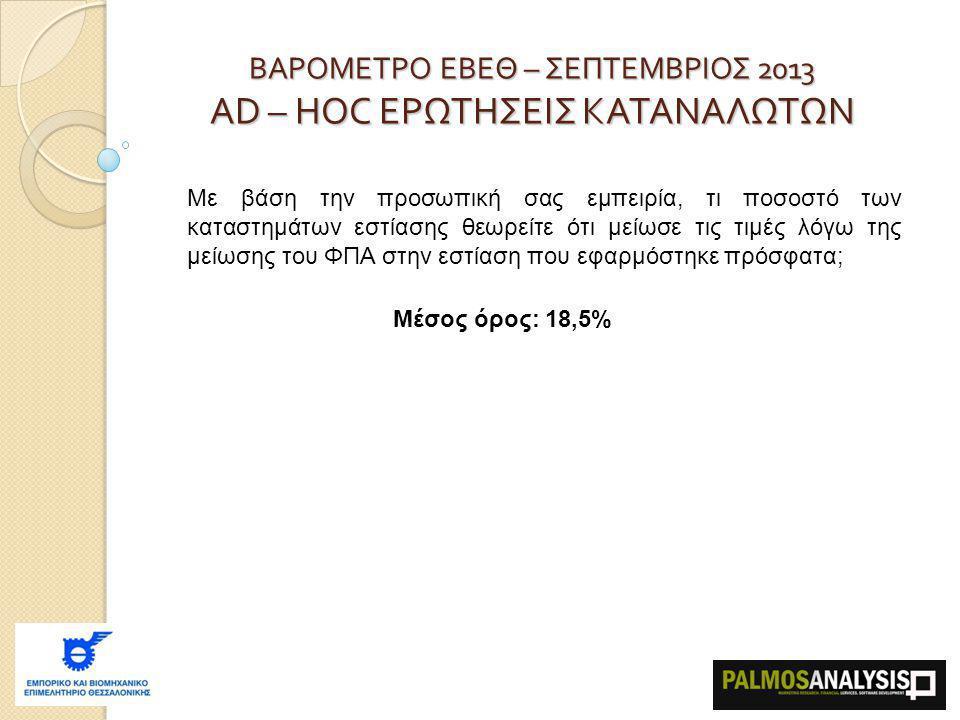 ΒΑΡΟΜΕΤΡΟ ΕΒΕΘ – ΣΕΠΤΕΜΒΡΙΟΣ 2013 AD – HOC ΕΡΩΤΗΣΕΙΣ