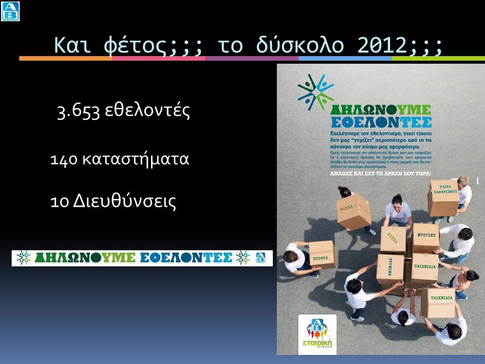 Και φέτος;;; το δύσκολο 2012;;; 3.653 εθελοντές 140 καταστήματα 10 Διευθύνσεις