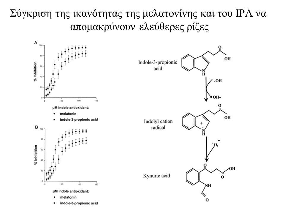 Σύγκριση της ικανότητας της μελατονίνης και του IPΑ να απομακρύνουν ελεύθερες ρίζες