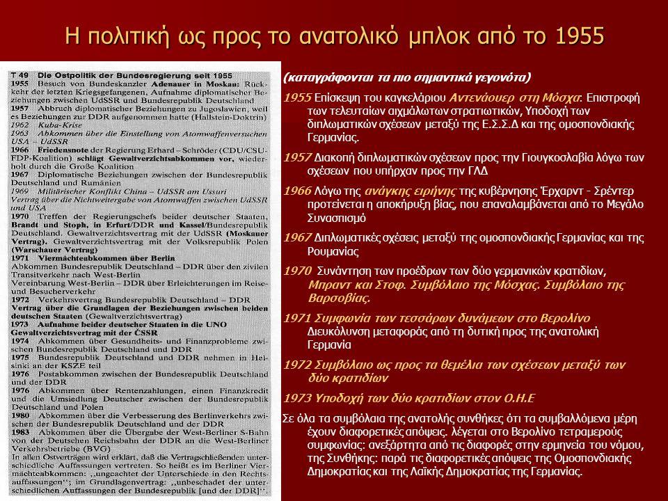 Η πολιτική ως προς το ανατολικό μπλοκ από το 1955 (καταγράφονται τα πιο σημαντικά γεγονότα) 1955 Επίσκεψη του καγκελάριου Αντενάουερ στη Μόσχα: Επιστροφή των τελευταίων αιχμάλωτων στρατιωτικών, Υποδοχή των διπλωματικών σχέσεων μεταξύ της Ε.Σ.Σ.Δ και της ομοσπονδιακής Γερμανίας.