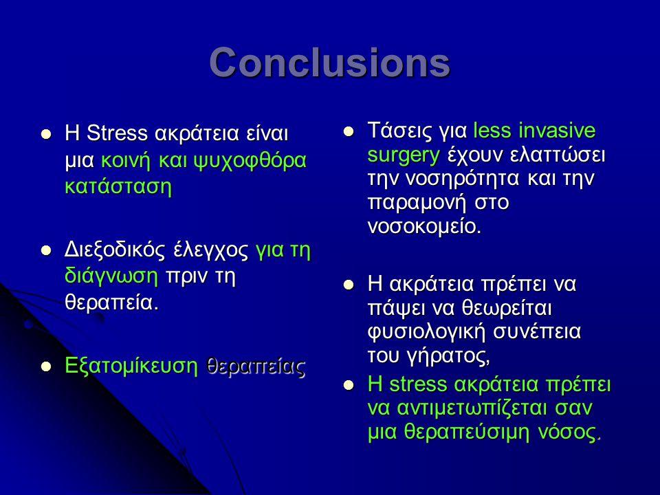 Conclusions Η Stress ακράτεια είναι μια κοινή και ψυχοφθόρα κατάσταση Η Stress ακράτεια είναι μια κοινή και ψυχοφθόρα κατάσταση Διεξοδικός έλεγχος για τη διάγνωση πριν τη θεραπεία.