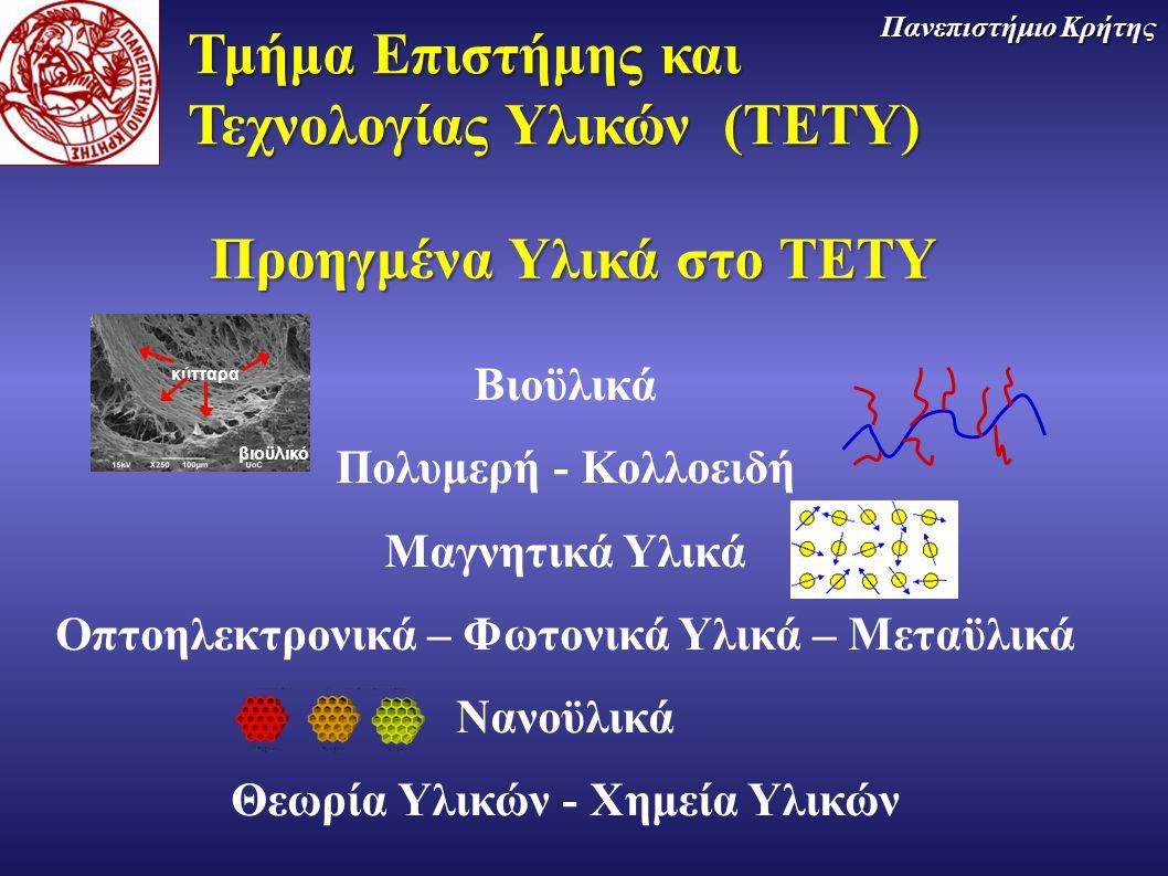 Τμήμα Επιστήμης και Τεχνολογίας Υλικών (TETY) Πανεπιστήμιο Κρήτης Βιοϋλικά Πολυμερή - Κολλοειδή Μαγνητικά Υλικά Οπτοηλεκτρονικά – Φωτονικά Υλικά – Μετ