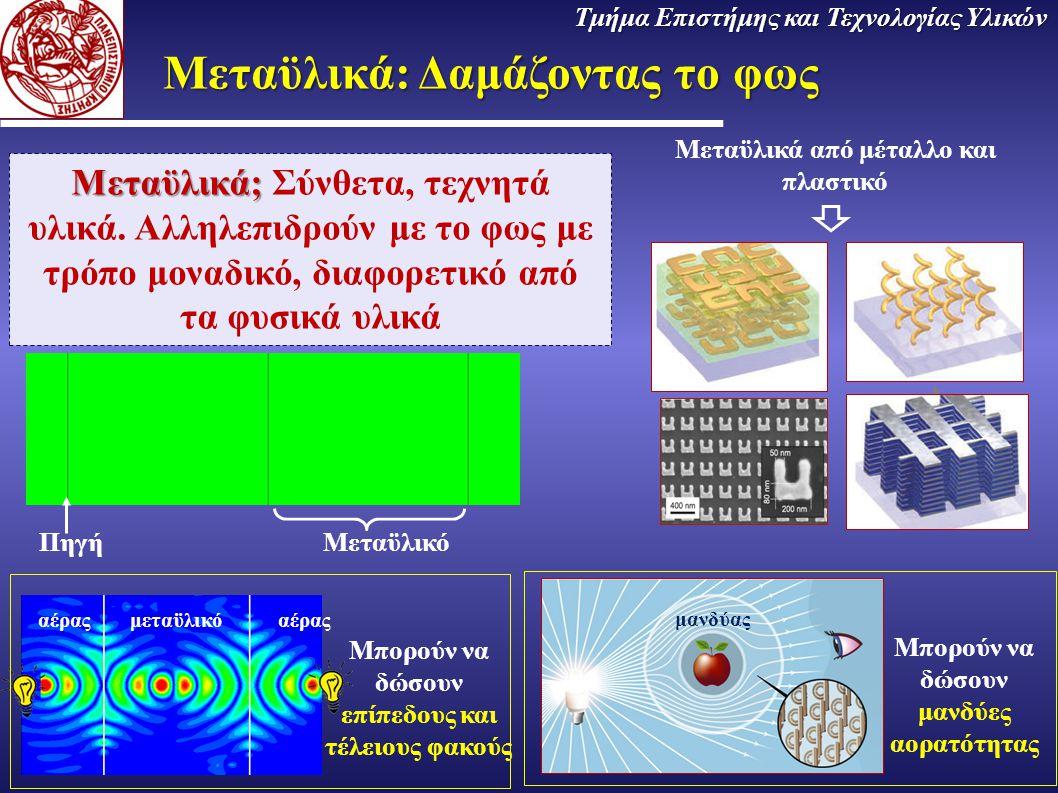 Μεταϋλικά: Δαμάζοντας το φως Μεταϋλικά; Μεταϋλικά; Σύνθετα, τεχνητά υλικά. Αλληλεπιδρούν με το φως με τρόπο μοναδικό, διαφορετικό από τα φυσικά υλικά