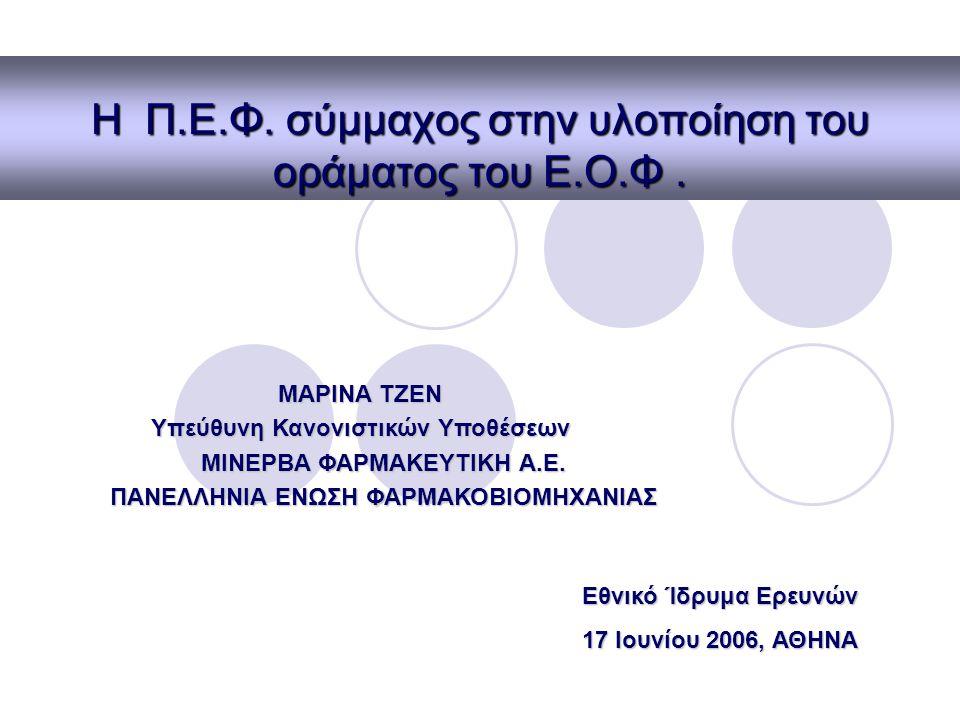 Επιχειρησιακό σχέδιο ΕΟΦ Προσαρμογή στο συνεχώς μεταβαλλόμενο περιβάλλον oΕπιστημονικό σκέλος oΠαραγωγική διαδικασία oΚοινωνικό επίπεδο Όραμα για τη μετάβαση στη νέα εποχή oΕντοπισμός σημείων προς βελτίωση Π.Ε.Φ 17 Ιουνίου 2006 Ε.Ι.Ε, Αθήνα