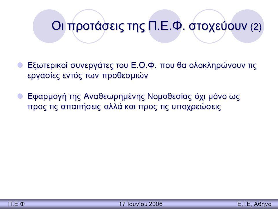 Οι προτάσεις της Π.Ε.Φ. στοχεύουν (2) Εξωτερικοί συνεργάτες του Ε.Ο.Φ. που θα ολοκληρώνουν τις εργασίες εντός των προθεσμιών Εξωτερικοί συνεργάτες του