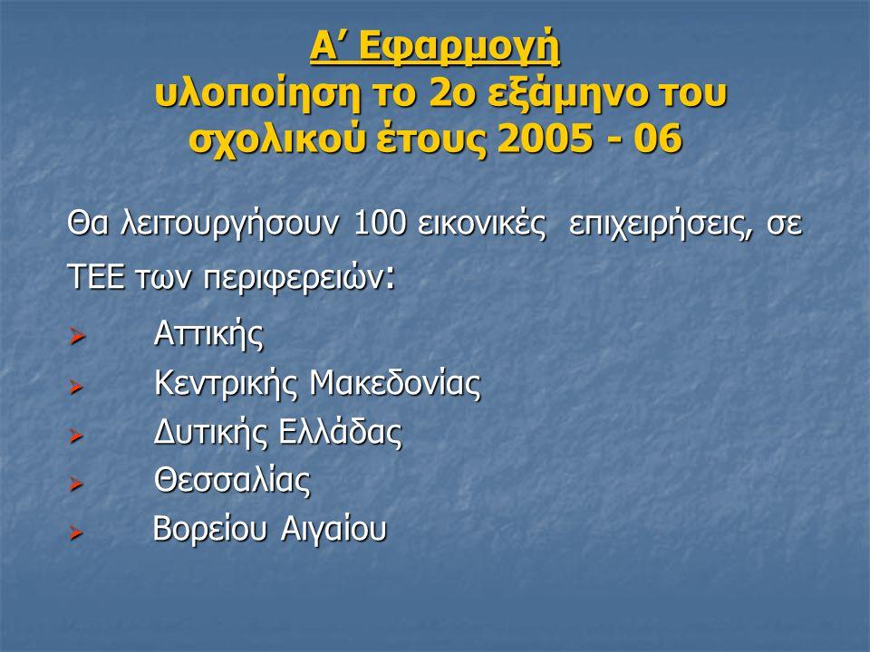 Α' Εφαρμογή υλοποίηση το 2ο εξάμηνο του σχολικού έτους 2005 - 06 Θα λειτουργήσουν 100 εικονικές επιχειρήσεις, σε ΤΕΕ των περιφερειών :  Αττικής  Κεν