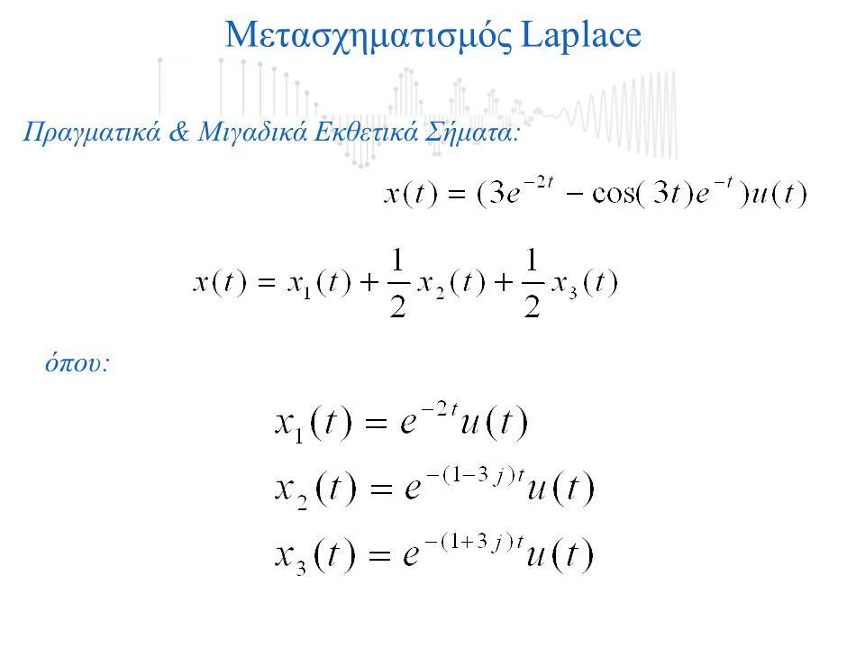 Μετασχηματισμός Laplace Πραγματικά & Μιγαδικά Εκθετικά Σήματα: όπου: