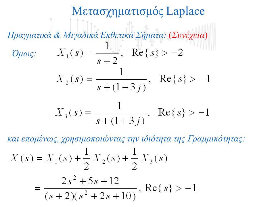 Όμως: και επομένως, χρησιμοποιώντας την ιδιότητα της Γραμμικότητας: Μετασχηματισμός Laplace Πραγματικά & Μιγαδικά Εκθετικά Σήματα: (Συνέχεια)