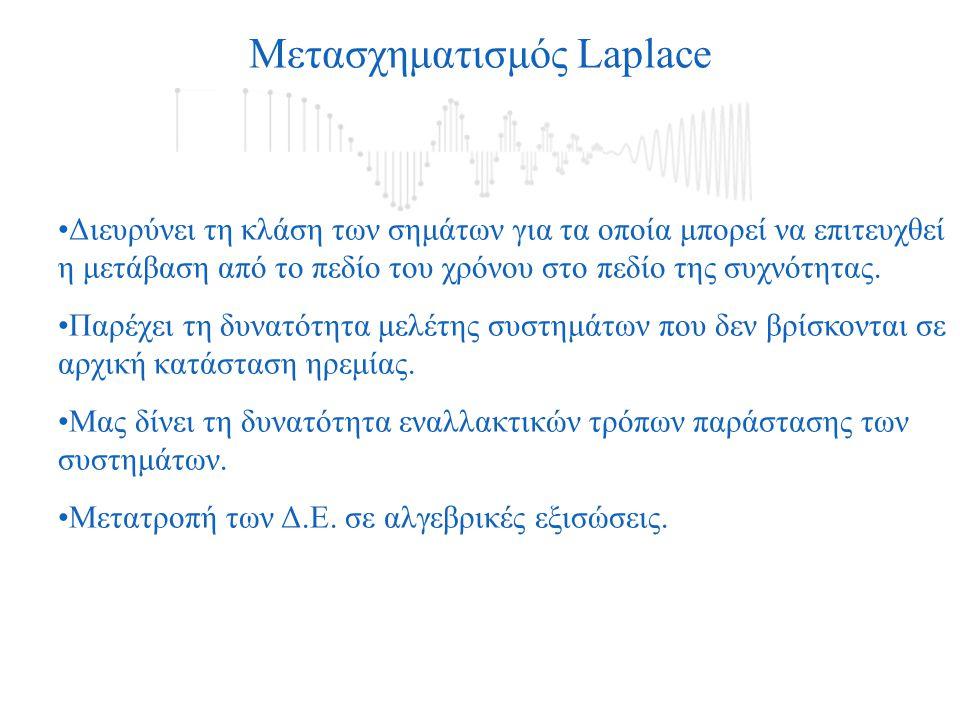 Μετασχηματισμός Laplace Διευρύνει τη κλάση των σημάτων για τα οποία μπορεί να επιτευχθεί η μετάβαση από το πεδίο του χρόνου στο πεδίο της συχνότητας.