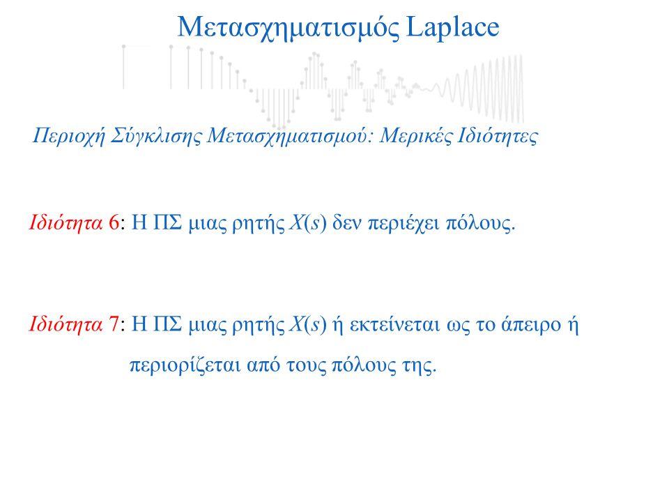 Μετασχηματισμός Laplace Περιοχή Σύγκλισης Μετασχηματισμού: Μερικές Ιδιότητες Ιδιότητα 7: Η ΠΣ μιας ρητής Χ(s) ή εκτείνεται ως το άπειρο ή περιορίζεται από τους πόλους της.