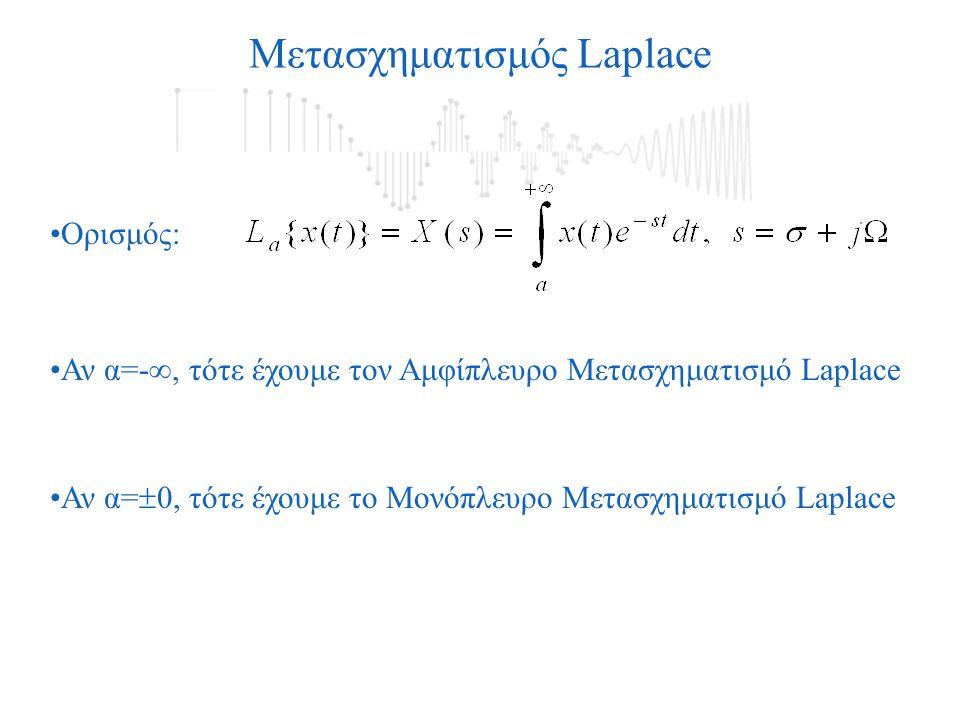 Ορισμός: Αν α=  0, τότε έχουμε το Μονόπλευρο Μετασχηματισμό Laplace Αν α=- , τότε έχουμε τον Αμφίπλευρο Μετασχηματισμό Laplace Μετασχηματισμός Laplace