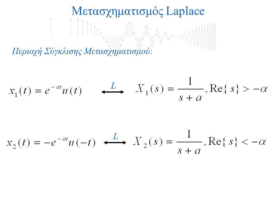 L L Μετασχηματισμός Laplace Περιοχή Σύγκλισης Μετασχηματισμού:
