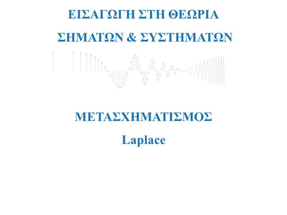 jΩ=Im{s} σ=Re{s} Περιοχή Σύγκλισης Σήματος Μετασχηματισμός Laplace Μιγαδικό Επίπεδο-s
