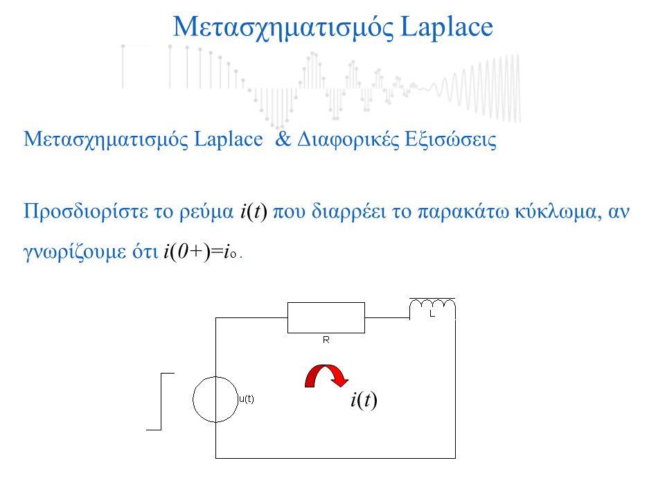 Μετασχηματισμός Laplace Μετασχηματισμός Laplace & Διαφορικές Εξισώσεις Προσδιορίστε το ρεύμα i(t) που διαρρέει το παρακάτω κύκλωμα, αν γνωρίζουμε ότι