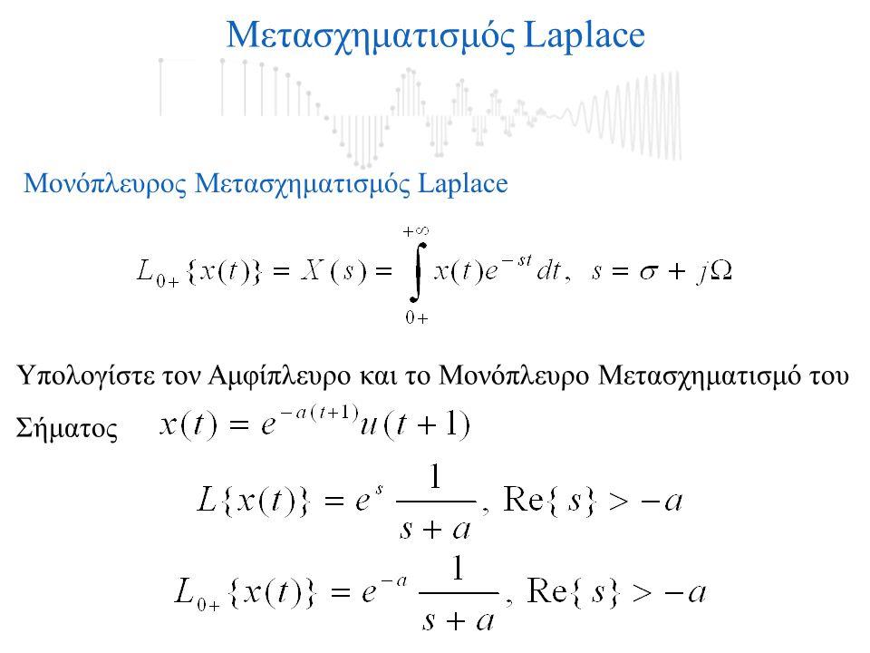 Μετασχηματισμός Laplace Μονόπλευρος Μετασχηματισμός Laplace Υπολογίστε τον Αμφίπλευρο και το Μονόπλευρο Μετασχηματισμό του Σήματος