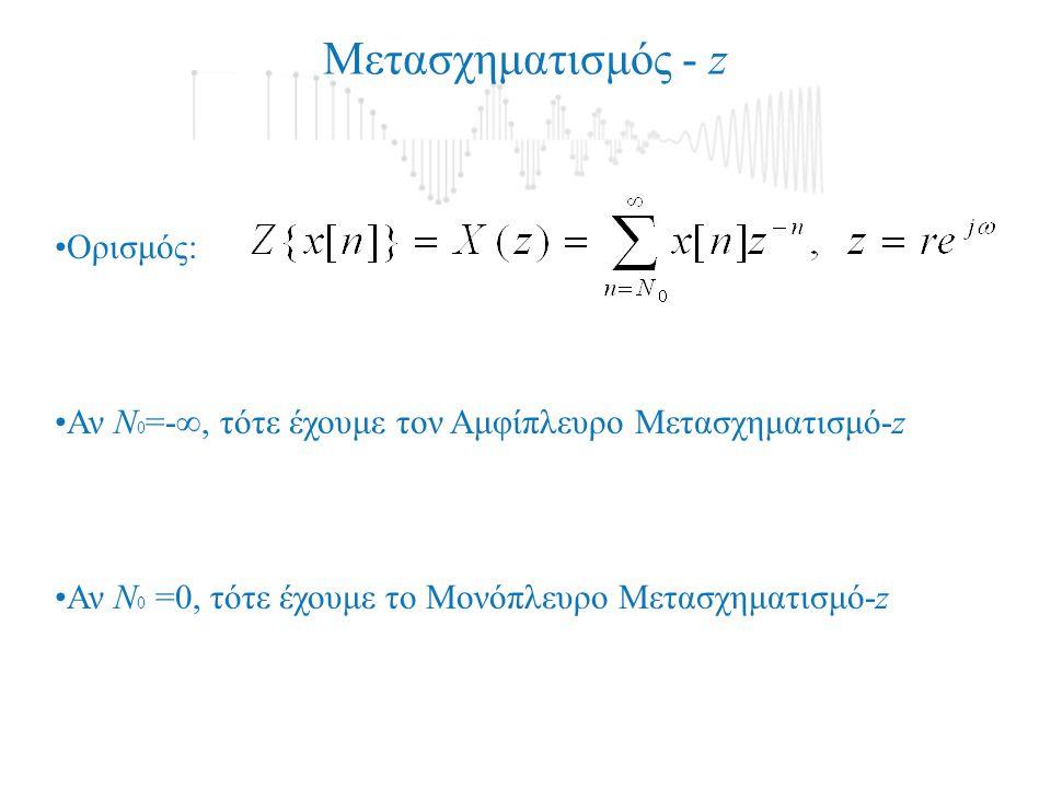 Ορισμός: Αν N 0 =0, τότε έχουμε το Μονόπλευρο Μετασχηματισμό-z Αν N 0 =- , τότε έχουμε τον Αμφίπλευρο Μετασχηματισμό-z Μετασχηματισμός - z