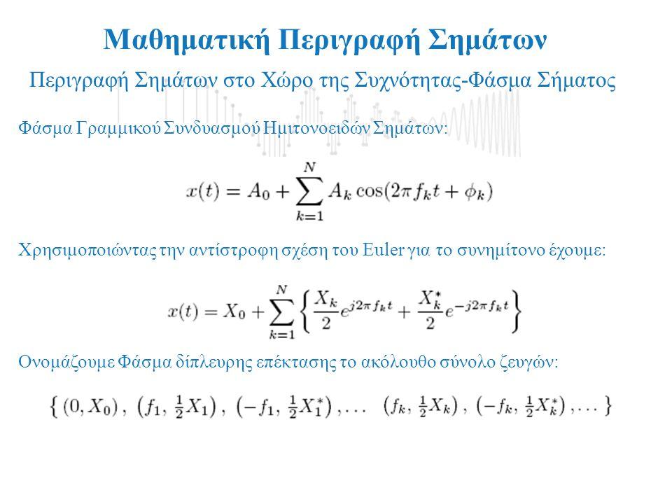 Μαθηματική Περιγραφή Σημάτων Περιγραφή Σημάτων στο Χώρο της Συχνότητας-Φάσμα Σήματος 1.Η Περίπτωση Γραμμικού Συνδυασμού Ημιτονοειδών Σημάτων (χωρίς πε