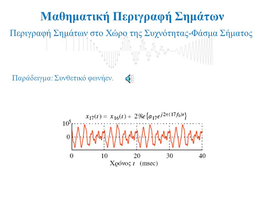 Μαθηματική Περιγραφή Σημάτων Περιγραφή Σημάτων στο Χώρο της Συχνότητας-Φάσμα Σήματος Περιοδικά Σήματα:, για κάθε t Αν: Τότε το: είναι ένα περιοδικό σή