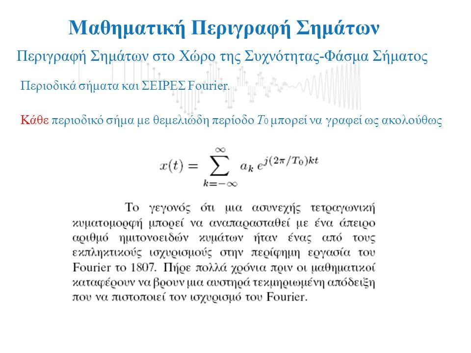 Μαθηματική Περιγραφή Σημάτων Περιγραφή Σημάτων στο Χώρο της Συχνότητας-Φάσμα Σήματος Παράδειγμα: Συνθετικό φωνήεν-γραφικές παραστάσεις μερικών αθροισμ