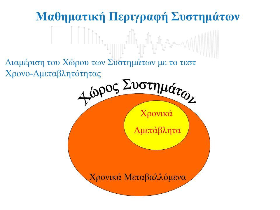 Μαθηματική Περιγραφή Συστημάτων Διαμέριση του Χώρου των Συστημάτων με το τεστ Γραμμικότητας Μη Γραμμικά Γραμμικά