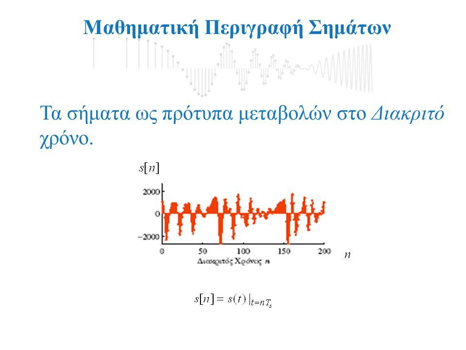 Μαθηματική Περιγραφή Σημάτων Τα σήματα ως πρότυπα μεταβολών στο Διακριτό χρόνο.