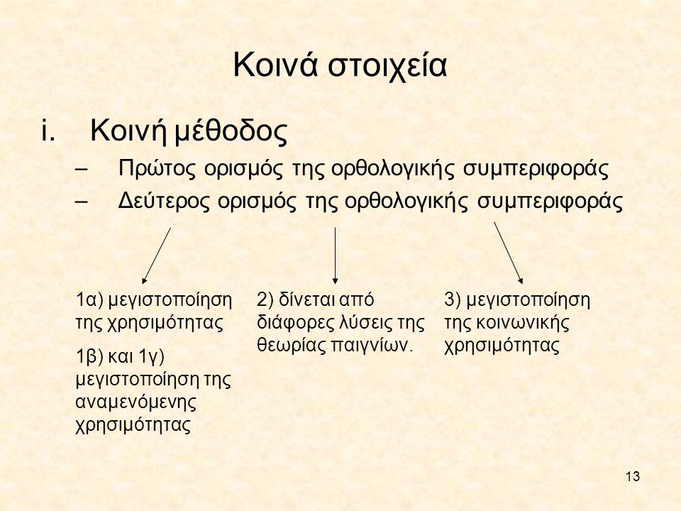 13 Κοινά στοιχεία i.Κοινή μέθοδος –Πρώτος ορισμός της ορθολογικής συμπεριφοράς –Δεύτερος ορισμός της ορθολογικής συμπεριφοράς 1α) μεγιστοποίηση της χρ