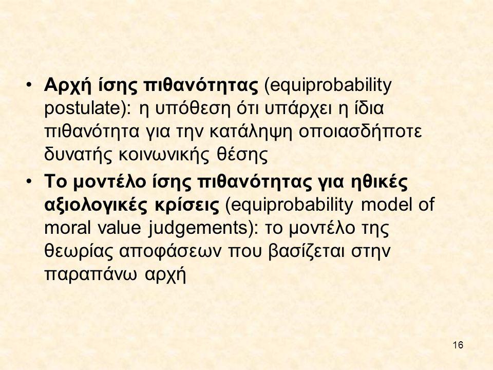 16 Αρχή ίσης πιθανότητας (equiprobability postulate): η υπόθεση ότι υπάρχει η ίδια πιθανότητα για την κατάληψη οποιασδήποτε δυνατής κοινωνικής θέσης Τ