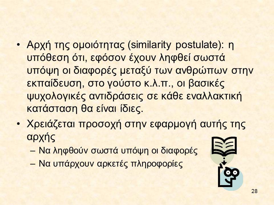 28 Αρχή της ομοιότητας (similarity postulate): η υπόθεση ότι, εφόσον έχουν ληφθεί σωστά υπόψη οι διαφορές μεταξύ των ανθρώπων στην εκπαίδευση, στο γού