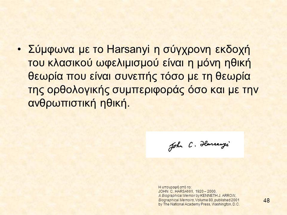 48 Σύμφωνα με το Harsanyi η σύγχρονη εκδοχή του κλασικού ωφελιμισμού είναι η μόνη ηθική θεωρία που είναι συνεπής τόσο με τη θεωρία της ορθολογικής συμ