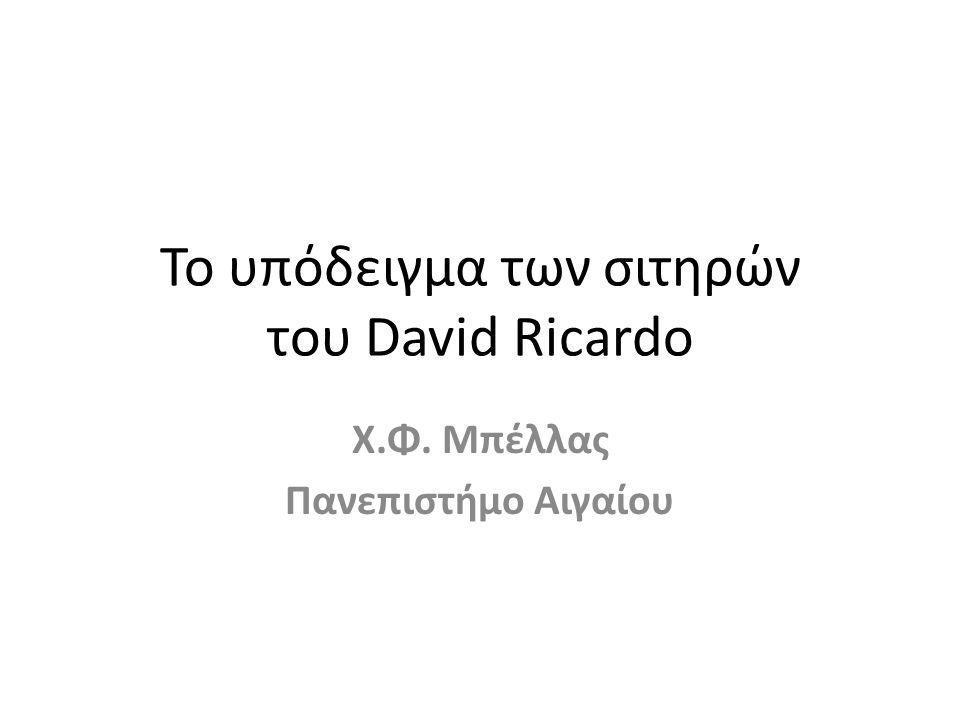 Το υπόδειγμα των σιτηρών του David Ricardo Χ.Φ. Μπέλλας Πανεπιστήμο Αιγαίου