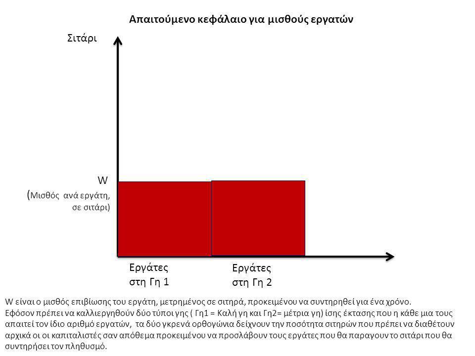 Σιτάρι W ( Μισθός ανά εργάτη, σε σιτάρι) Εργάτες στη Γη 1 Εργάτες στη Γη 2 Απαιτούμενο κεφάλαιο για μισθούς εργατών W είναι ο μισθός επιβίωσης του εργ