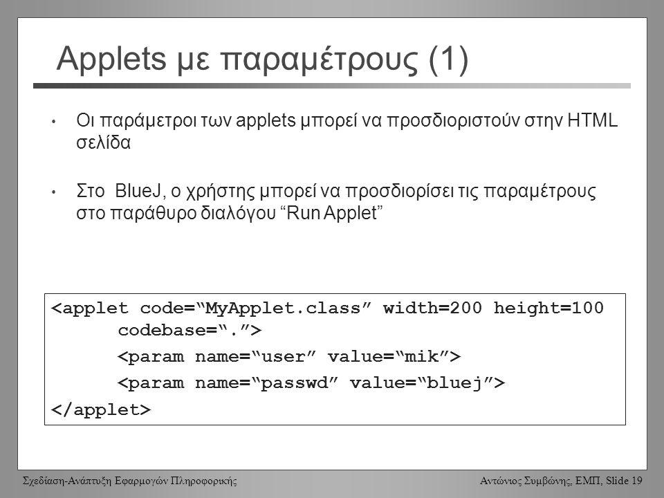Σχεδίαση-Ανάπτυξη Εφαρμογών Πληροφορικής Αντώνιος Συμβώνης, ΕΜΠ, Slide 19 Applets με παραμέτρους (1) Οι παράμετροι των applets μπορεί να προσδιοριστούν στην HTML σελίδα Στο BlueJ, ο χρήστης μπορεί να προσδιορίσει τις παραμέτρους στο παράθυρο διαλόγου Run Applet