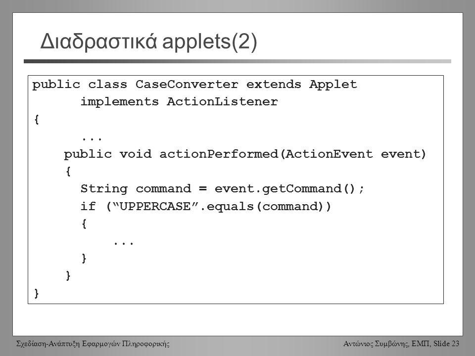 Σχεδίαση-Ανάπτυξη Εφαρμογών Πληροφορικής Αντώνιος Συμβώνης, ΕΜΠ, Slide 23 Διαδραστικά applets(2) public class CaseConverter extends Applet implements ActionListener {...