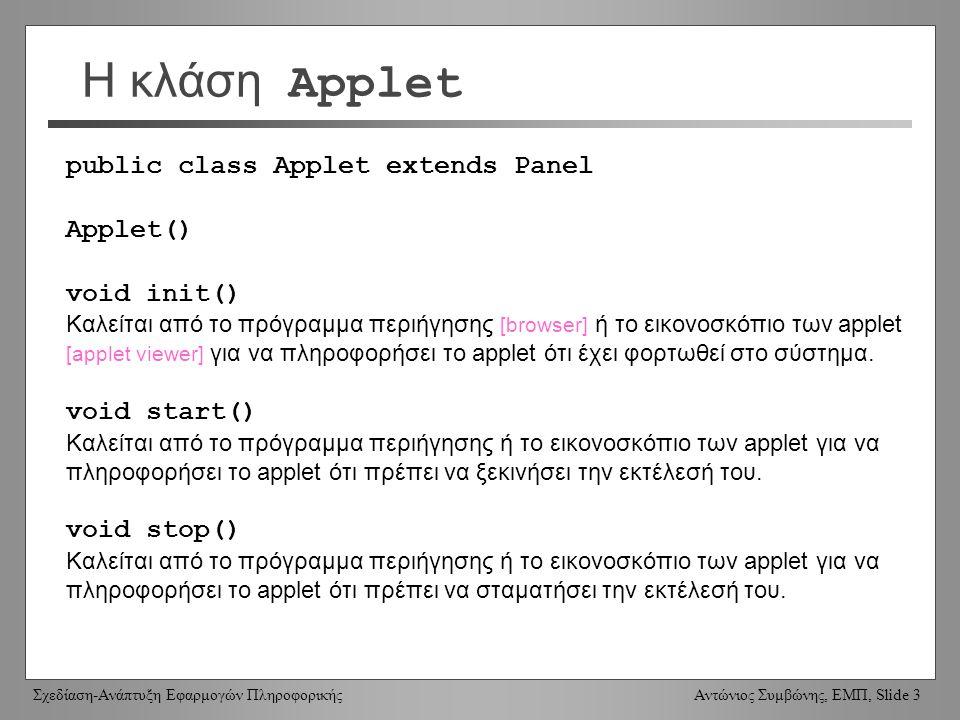 Σχεδίαση-Ανάπτυξη Εφαρμογών Πληροφορικής Αντώνιος Συμβώνης, ΕΜΠ, Slide 3 Η κλάση Applet public class Applet extends Panel Applet() void init() Καλείται από το πρόγραμμα περιήγησης [browser] ή το εικονοσκόπιο των applet [applet viewer] για να πληροφορήσει το applet ότι έχει φορτωθεί στο σύστημα.