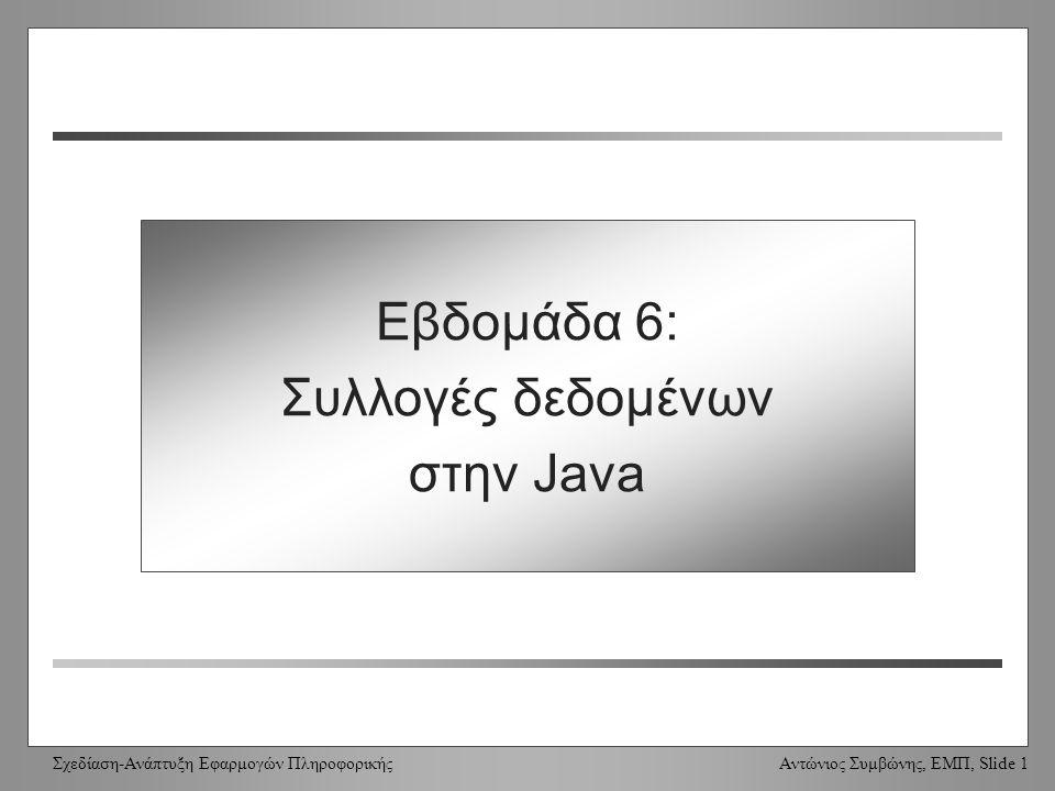 Σχεδίαση-Ανάπτυξη Εφαρμογών Πληροφορικής Αντώνιος Συμβώνης, ΕΜΠ, Slide 1 Week 6: Java Collections Εβδομάδα 6: Συλλογές δεδομένων στην Java
