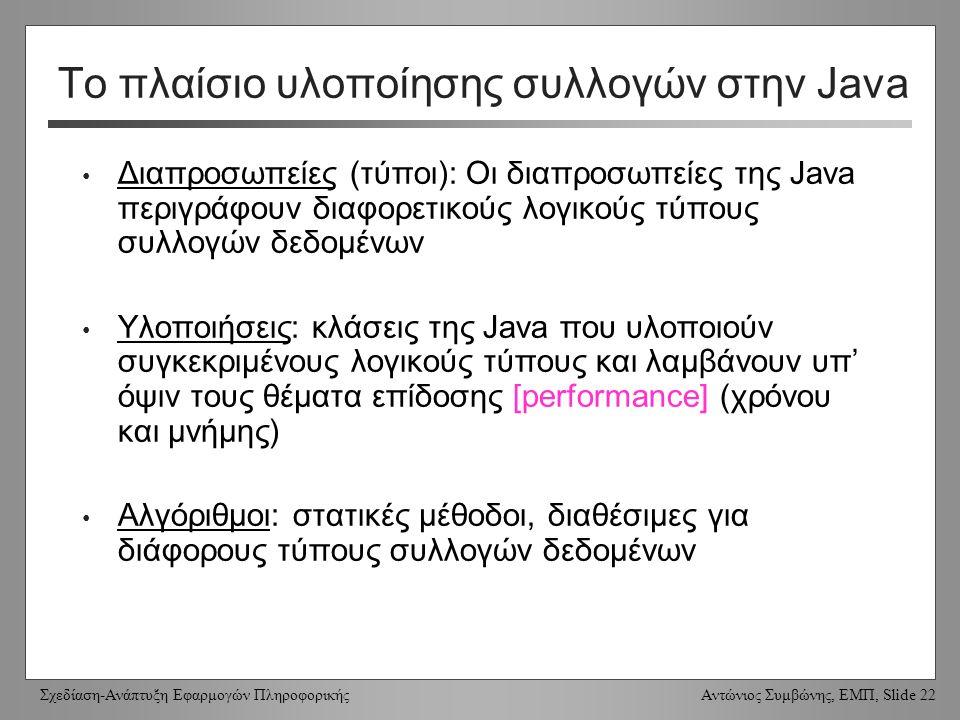 Σχεδίαση-Ανάπτυξη Εφαρμογών Πληροφορικής Αντώνιος Συμβώνης, ΕΜΠ, Slide 22 Το πλαίσιο υλοποίησης συλλογών στην Java Διαπροσωπείες (τύποι): Οι διαπροσωπείες της Java περιγράφουν διαφορετικούς λογικούς τύπους συλλογών δεδομένων Υλοποιήσεις: κλάσεις της Java που υλοποιούν συγκεκριμένους λογικούς τύπους και λαμβάνουν υπ' όψιν τους θέματα επίδοσης [performance] (χρόνου και μνήμης) Αλγόριθμοι: στατικές μέθοδοι, διαθέσιμες για διάφορους τύπους συλλογών δεδομένων