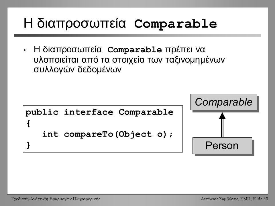 Σχεδίαση-Ανάπτυξη Εφαρμογών Πληροφορικής Αντώνιος Συμβώνης, ΕΜΠ, Slide 30 Η διαπροσωπεία Comparable Η διαπροσωπεία Comparable πρέπει να υλοποιείται από τα στοιχεία των ταξινομημένων συλλογών δεδομένων public interface Comparable { int compareTo(Object o); } Comparable Person