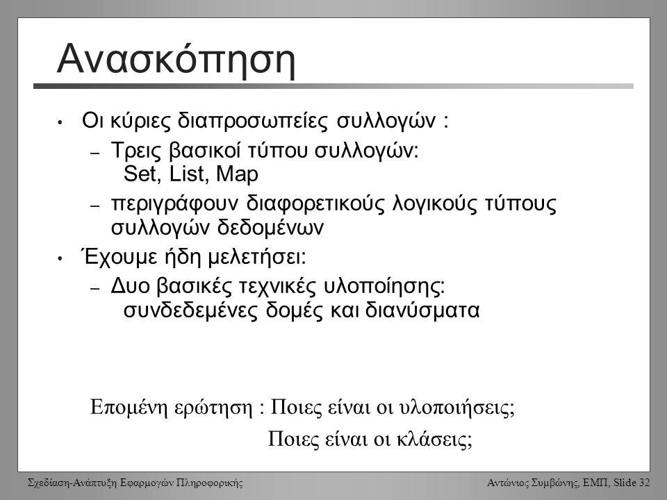 Σχεδίαση-Ανάπτυξη Εφαρμογών Πληροφορικής Αντώνιος Συμβώνης, ΕΜΠ, Slide 32 Ανασκόπηση Οι κύριες διαπροσωπείες συλλογών : – Τρεις βασικοί τύπου συλλογών: Set, List, Map – περιγράφουν διαφορετικούς λογικούς τύπους συλλογών δεδομένων Έχουμε ήδη μελετήσει: – Δυο βασικές τεχνικές υλοποίησης: συνδεδεμένες δομές και διανύσματα Επομένη ερώτηση : Ποιες είναι οι υλοποιήσεις; Ποιες είναι οι κλάσεις;