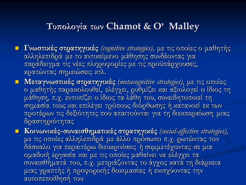 Τυπολογία των Chamot & O ' Malley Γνωστικές στρατηγικές (cognitive strategies), με τις οποίες ο μαθητής αλληλεπιδρά με το αντικείμενο μάθησης συνδέοντ